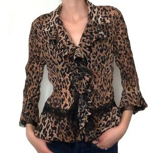 Tops - Animal print bell sleeve ruffle blouse Small